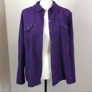 Croft&barrow Purple Button Down Blouse/Cardigan